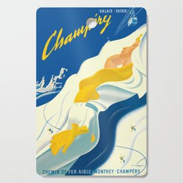 Vintage Champery Switzerland Travel Cutting Board