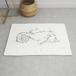 Doodle Seahorse Black and White Rug