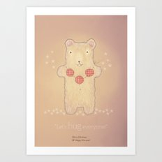 Christmas creatures- The Loving Bear Art Print