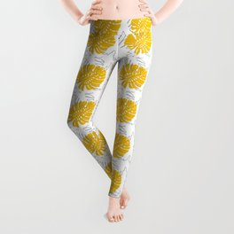Abstract Yellow and Grey Monstera and Fern Leaves Leggings