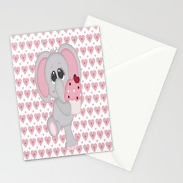 Baby Elephant Loves Cupcakes Stationery Cards