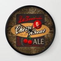 ale giorgini Wall Clocks featuring Cherry Wheat Ale by La Femina Brewing Co.