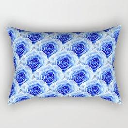 Tea Rose - Blue - Floral Pattern - Petal Elegance Art Deco Rectangular Pillow