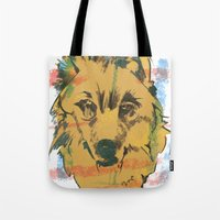 howl Tote Bags featuring HOWL by Galvanise The Dog