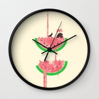 watermelon Wall Clocks featuring watermelon falls by Jonah Makes Artstuff