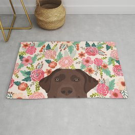 Chocolate Lab floral dog head cute labrador retriever must have pure breed dog gifts Rug