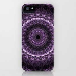 Detailed mandala in gray and violet tones iPhone Case