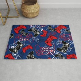 Video Games Red White & Blue Rug