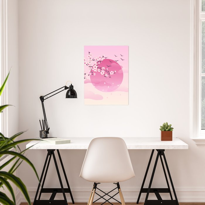 Japanese Cherry Blossom Pink Poster