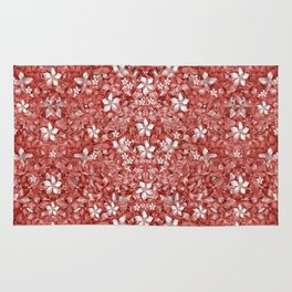 Flowers Pattern Collage in Coral an White Colors Rug