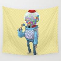 bubblegum Wall Tapestries featuring Bubblegum Machine by Gabor Nemethi