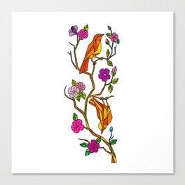 Bird on Cherry Blossom Low Polygon Canvas Print