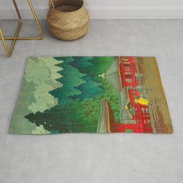Vintage Japanese Woodblock Print Rainy Day At The Shinto Shrine Tall Pine trees Yellow Rain Coat Rug