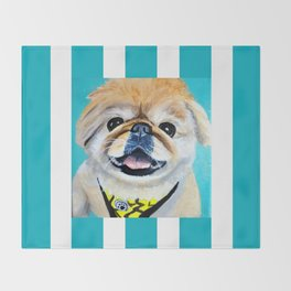Peke Fred Yellow Throw Blanket