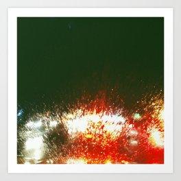 Driving in the rain. Art Print