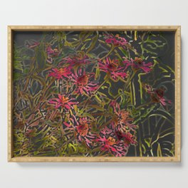 Zinnia Pink Abstract by CheyAnne Sexton Serving Tray