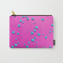 VALENTINE HEARTS - Turquoise Plastic Hearts Carry-All Pouch