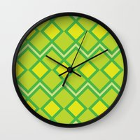 lime green Wall Clocks featuring Green Lime Square Pattern by FlowerPot