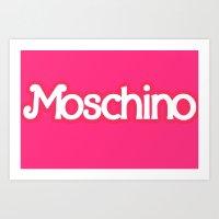 moschino Art Prints featuring Moschino Barbie by RickyRicardo787