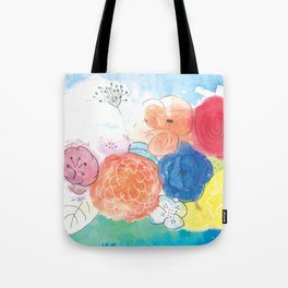 Watercolor and Ink Floral Bouquet Tote Bag