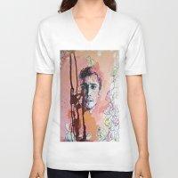 james franco V-neck T-shirts featuring James Franco by Katarzyna Typek