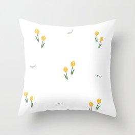 Yellow Floral Print Throw Pillow