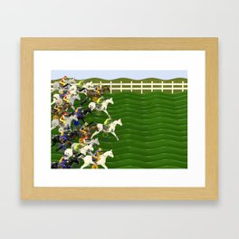 Horses and Jockeys Carnival Racing Game Framed Art Print