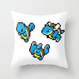 Squirtle Pixel Evolution Throw Pillow