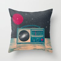 radio Throw Pillows featuring Space Radio by Victor Vercesi