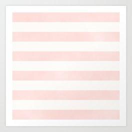 Pink Coral Stripes Art Print