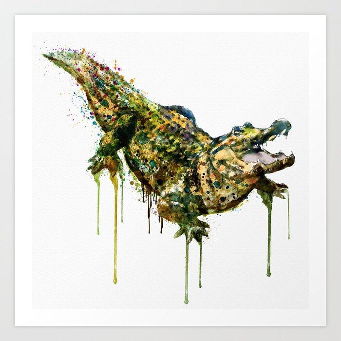 Alligator Watercolor Painting Art Print