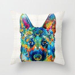 Colorful German Shepherd Dog Art By Sharon Cummings Throw Pillow