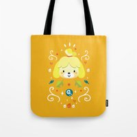 animal crossing Tote Bags featuring Animal Crossing: Isabelle by Anth Rodi