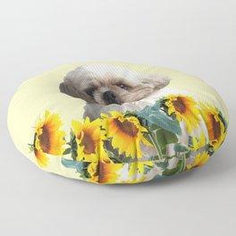 Paul Top Model - Shih tzu dog - Sunflower leaves Floor Pillow