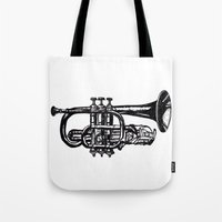 trumpet Tote Bags featuring Trumpet by Shannon Hansen