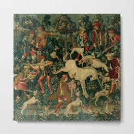 The Unicorn Defends Itself (from the Unicorn Tapestries) 1495–1505 Metal Print