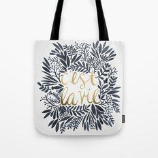 C'est la Vie – Grey & Gold Tote Bag