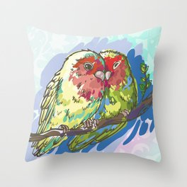 Expressive Parrots Lovebirds Throw Pillow