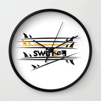 surfboard Wall Clocks featuring Surfboard Stack by Swirl Apparel