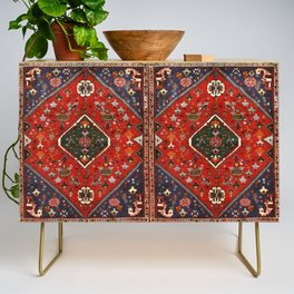 N65 - Colored Floral Traditional Boho Moroccan Style Artwork Credenza