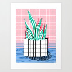 Glam - pop art memphis neon house plants throwback retro 80s style cool brooklyn style minimalism Art Print