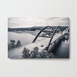austin's 360 bridge in black & white Metal Print