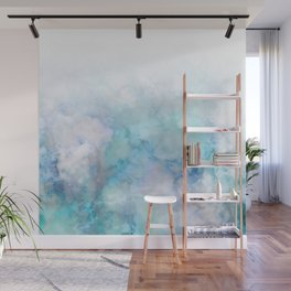 Fresh Blue and Aqua Ombre Frozen Marble Wall Mural
