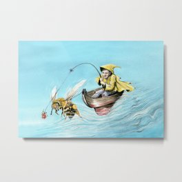 Bee Boating Metal Print