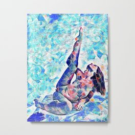 3047-JPC Abstract Nude in Blue Green Yoga Stretch Feminine Power Metal Print