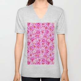Watercolor Bouquet in Rose Red Pink Unisex V-Neck