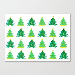 Christmas Tree Pattern Watercolor (Color) Canvas Print