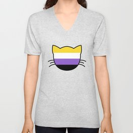 Non-Binary Flag Cat  Unisex V-Neck