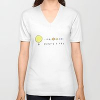 solar system V-neck T-shirts featuring Solar System by Theo Leschevin