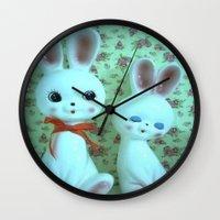 bunnies Wall Clocks featuring Bunnies by Vintage  Cuteness
